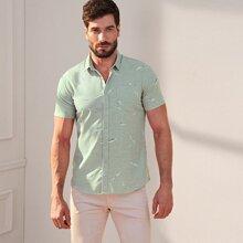 Maenner Hemd mit Feder Muster, Taschen und Knopfen vorn