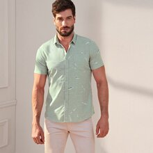 Men Feather Print Pocket Button Front Shirt