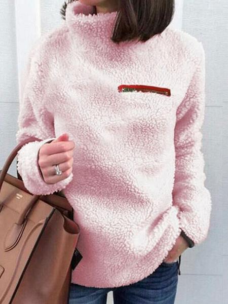 Milanoo Women Pollover Sweatshirt Pink Strand Collar Long Sleeves Korean Velvet Top