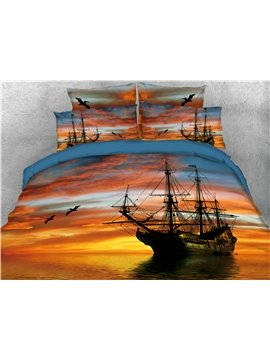 Pirate Ship Sailing Sunset Printed 4-Piece 3D Bedding Sets/Duvet Covers
