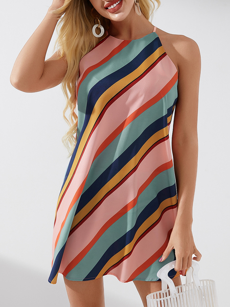 YOINS Multicolor Striped Halter Sleeveless Dress