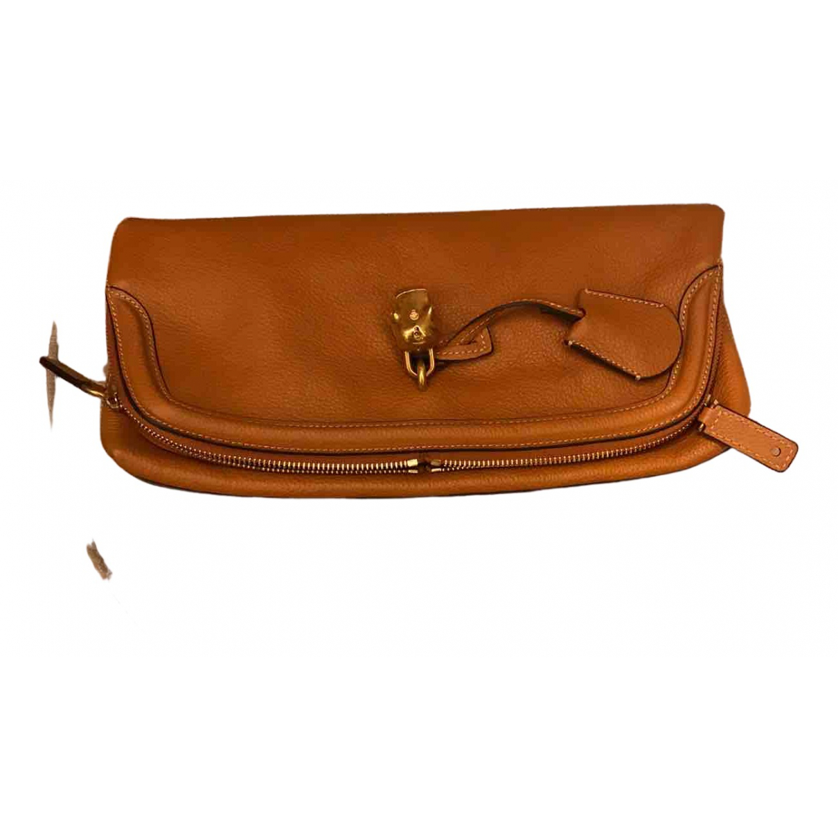 Alexander Mcqueen Skull Camel Leather Clutch bag for Women N