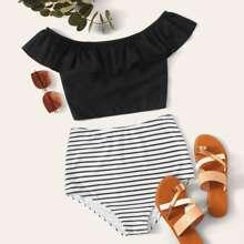 Bikini mit Raffungsaum, Streifen und hoher Taille