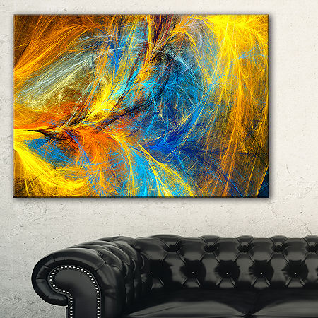 Designart Gold And Blue Psychedelic Pattern Abstract Art On Canvas, One Size , Blue