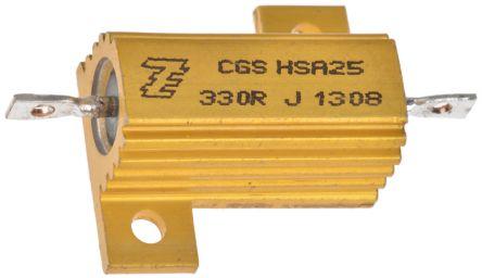 TE Connectivity HSA25 Series Aluminium Housed Solder Lug Wire Wound Panel Mount Resistor, 330Ω ±5% 25W