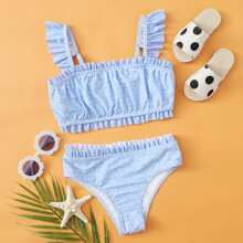 Girls Ditsy Floral Frill Trim Bikini Swimsuit
