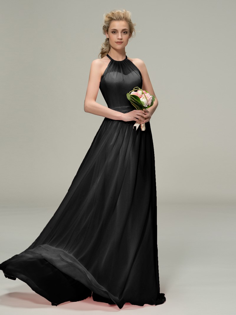 Ericdress Halter Ruched Long Bridesmaid Dress