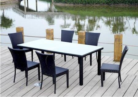 Sheraton SR-622 7-Pieces Patio Dining Table Set with 1 Rectangular Table and 6 Dining