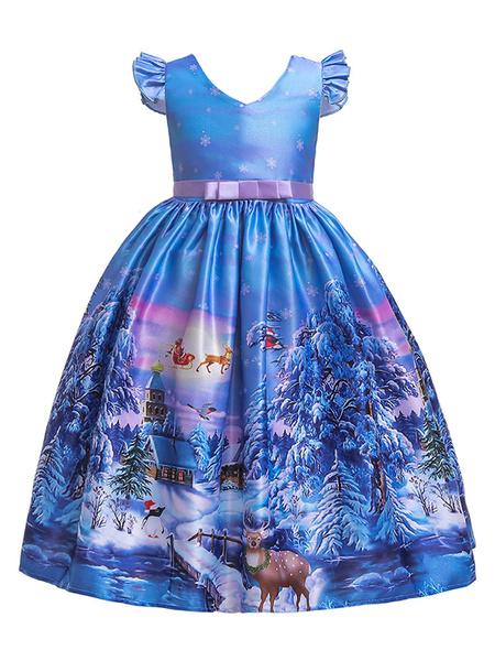 Milanoo Child Christmas Cosplay Print Ruffle Bow Blue Dress Kids Halloween Cosplay Costumes