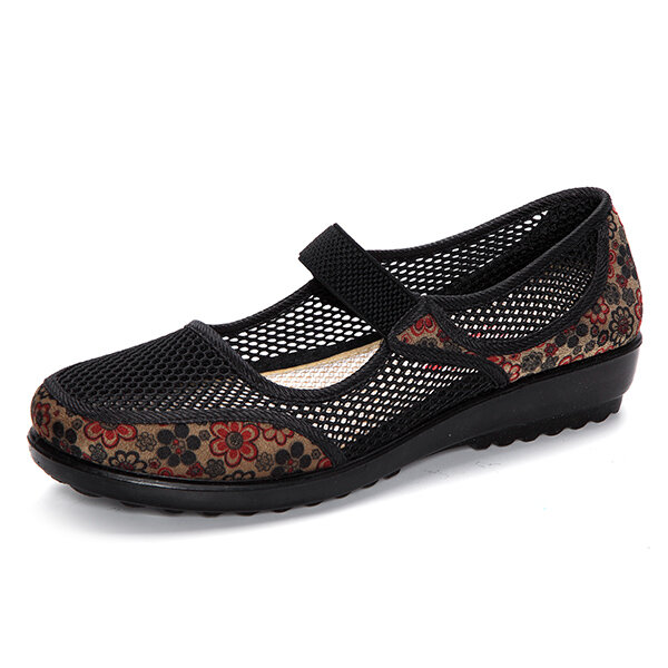Laege Size Mesh Breathable Flower Printing Wedge Heel Loafers