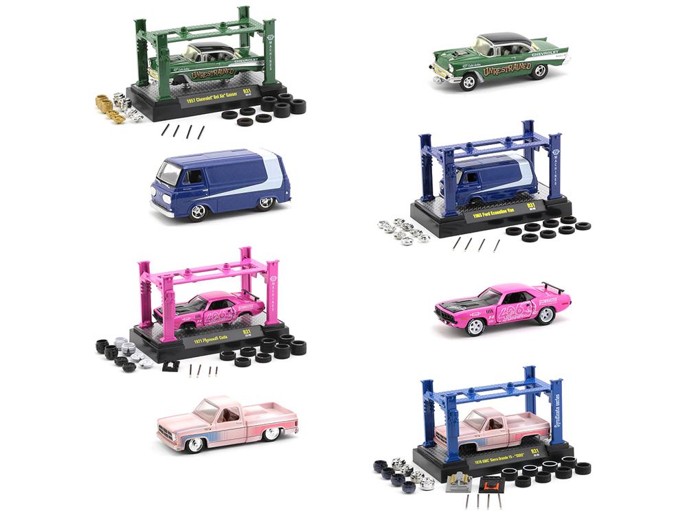 Model Kit 4 piece Car Set Release 31 1/64 Diecast Model Cars by M2 Machines
