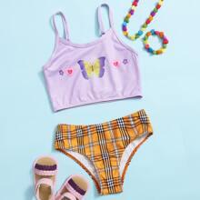 Gerippter Bikini Badeanzug mit Schmetterling & Karo Muster