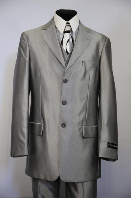 Mens Single Breasted Sharkskin Metallic Zoot Suit Silver