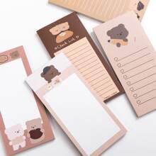 1pack Cartoon Bear Print Random Memo Pad