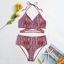 Bikini Badeanzug mit Stamm Muster und hoher Taille