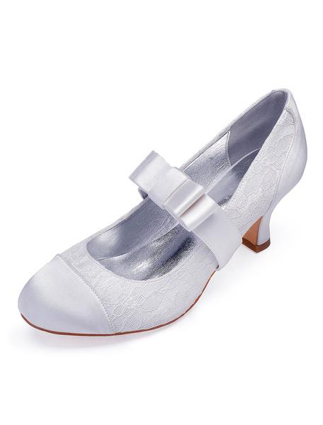 Milanoo Zapatos de novia de saten Zapatos de Fiesta blanco  Zapatos de puntera redonda Zapatos de boda 6.5cm con lazo