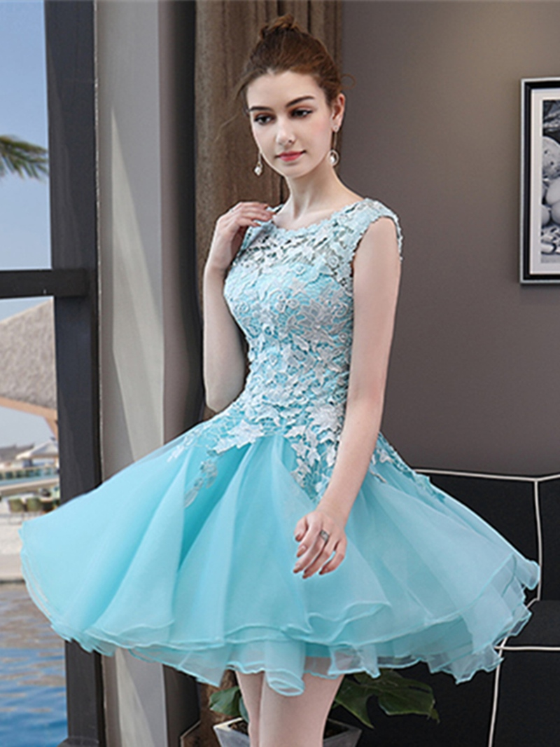 Ericdress A Line Scoop Neck Lace Applique Short Homecoming Dress