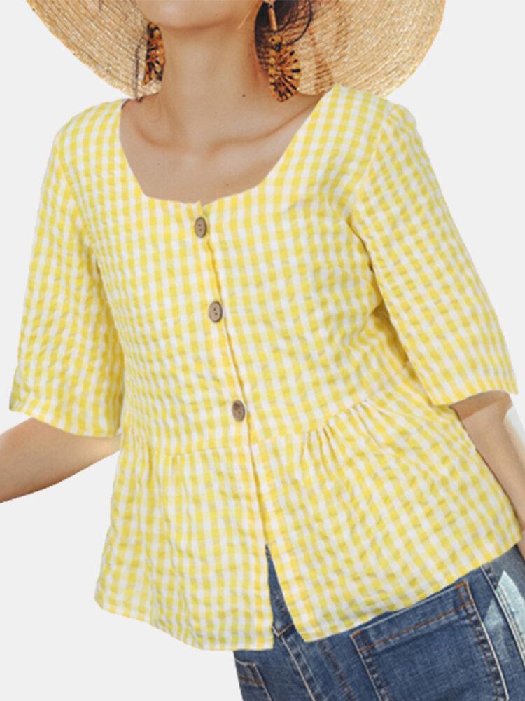 Casual Plaid Print Square Collar Short Sleeve Blouse