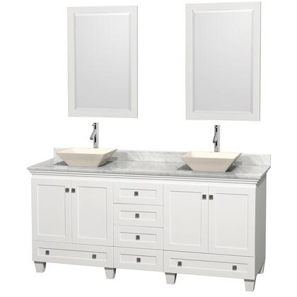 WCV800072DWHCMD2BM24 72 in. Double Bathroom Vanity in White  White Carrera Marble Countertop  Pyra Bone Sinks  and 24 in.