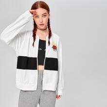 Zip Up Floral & Letter Graphic Color Block Jacket