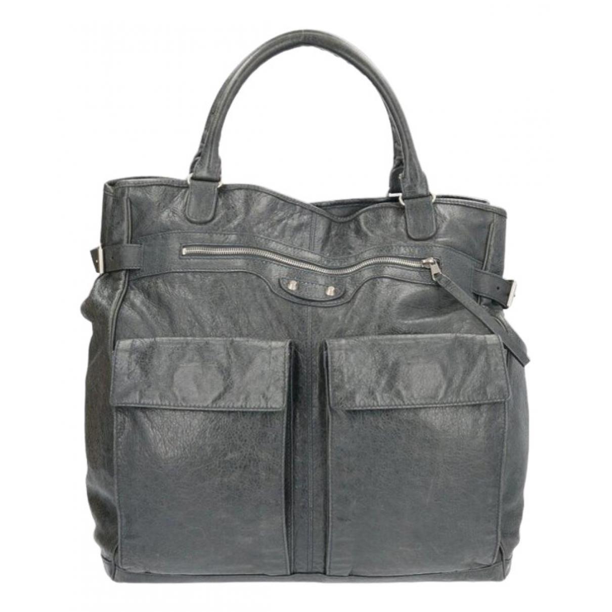 Balenciaga - Sac a main   pour femme en cuir - gris
