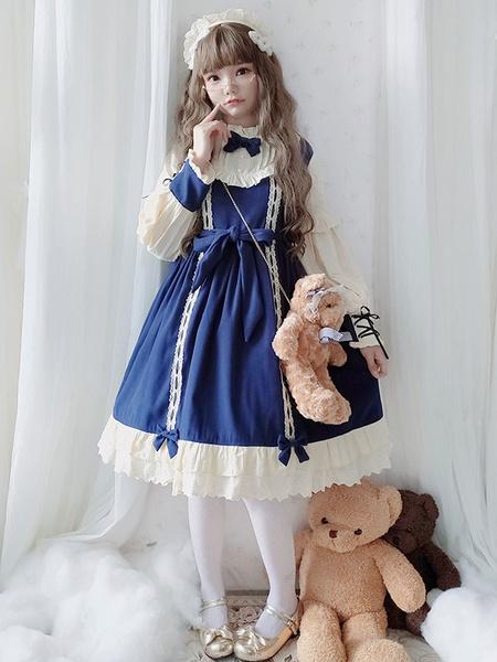 Milanoo Sweet Lolita OP Dress Honey Girl Bows Burgundy Bow Long Sleeves Lolita One Piece Dresses