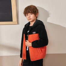 Boys Patched Detail Neon Panel Teddy Coat