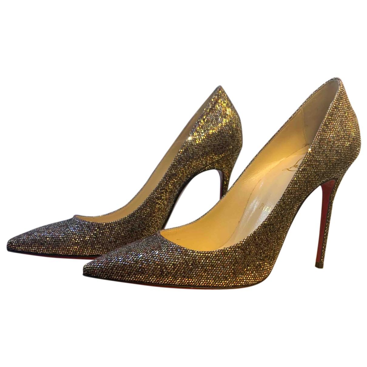 Christian Louboutin N Grey Glitter Heels for Women 37.5 EU