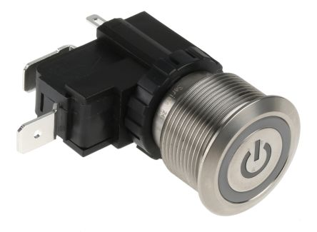 RS PRO Single Pole Single Throw (SPST) Latching White LED Push Button Switch, IP67, 22.2 (Dia.)mm, Panel Mount, Power (20)