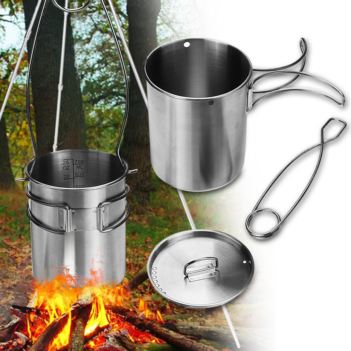 750ml Stainless Steel Pot Portable Water Mug Cup with Lid Camping Outdoor Coffee Cup