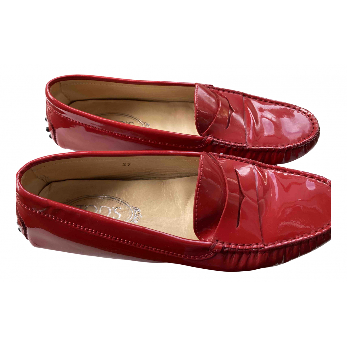 Tod's Gommino Red Patent leather Flats for Women 37 EU
