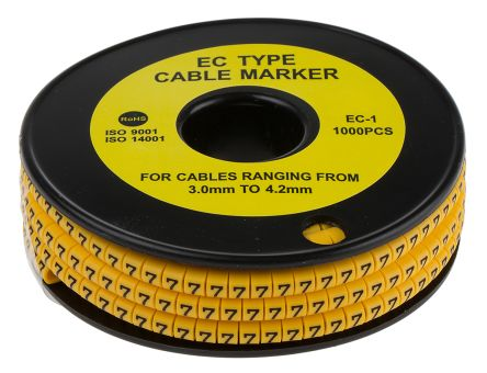 RS PRO Slide On Cable Marker, Pre-printed 7 Black on Yellow 3 → 4.2mm Dia. Range