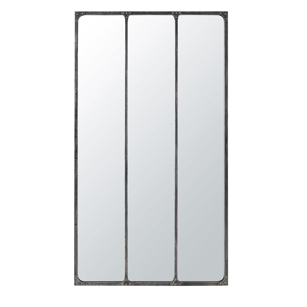 Dreigeteilter Spiegel aus Metall, schwarz in gealterter Optik 100x180