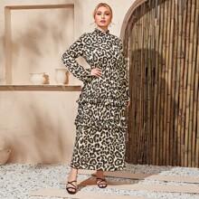 Kleid mit Leopard Muster und Rueschenbesatz