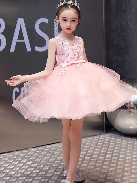 Milanoo Flower Girl Dresses Jewel Neck Tulle Sleeveless Knee-Length Princess Kids Pageant Dresses