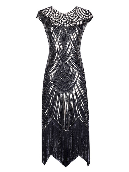 Milanoo 1920s Fashion Style Flapper Dress Great Gatsby Vintage Costume Women's Sequin Tassels Apricot Round Neck 20s Party outfits Halloween