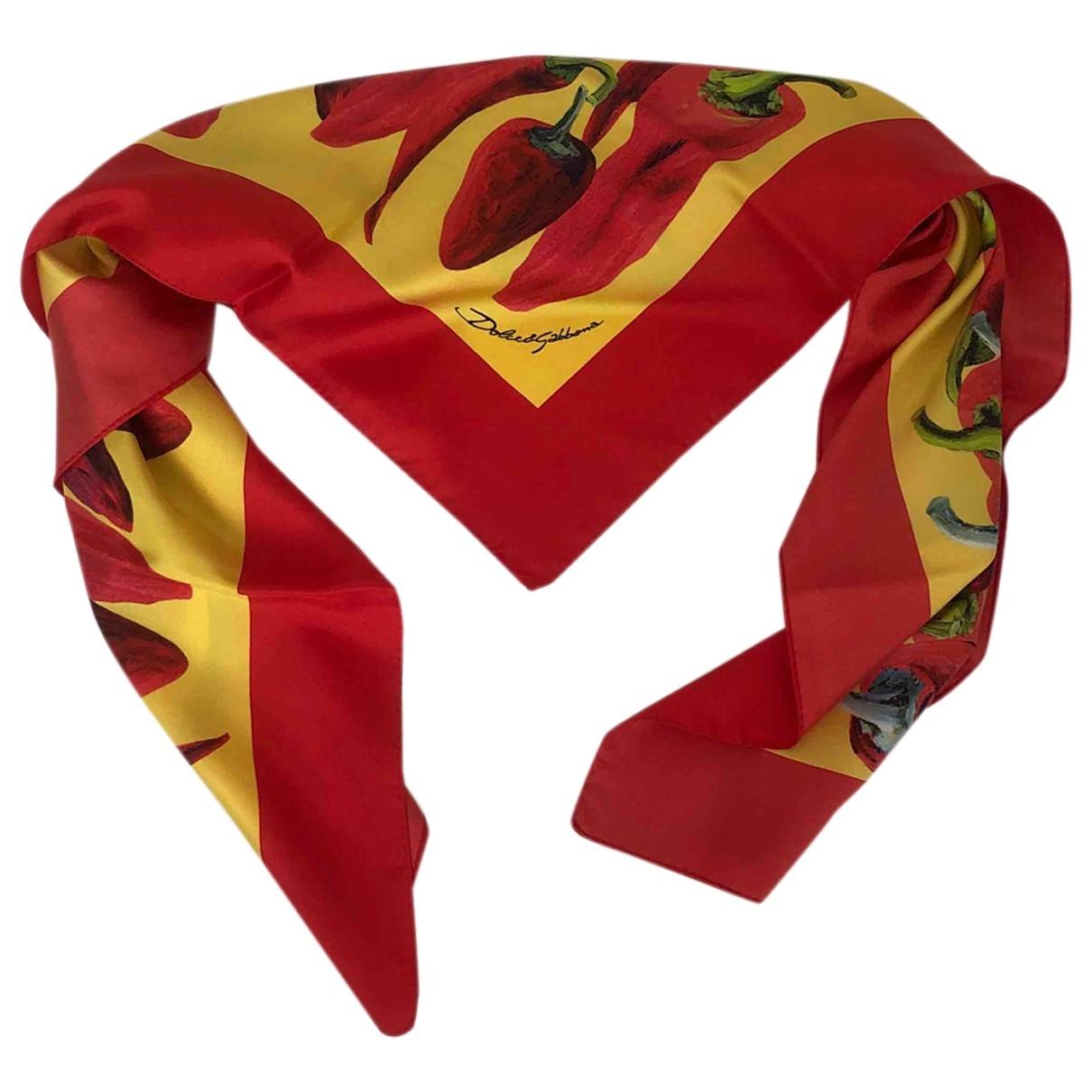 Dolce & Gabbana - Foulard   pour femme en soie - rouge