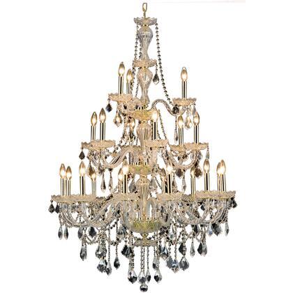 V7890G38G/RC Giselle 21 Light Gold Chandelier Clear Royal Cut