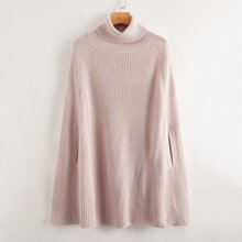 Turtle Neck Ribbed Knit Poncho