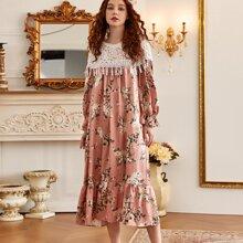 Floral Print Lace Panel Ruffle Hem Nightdress