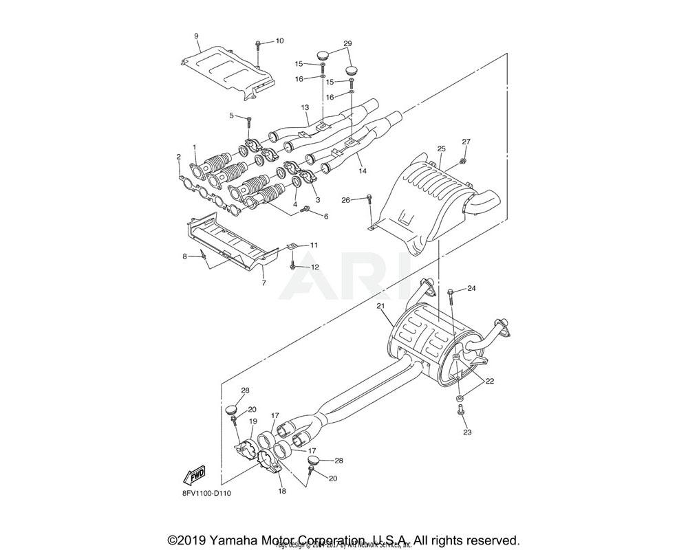 Yamaha OEM 8FU-14610-00-00 EXHAUST PIPE ASSY 1