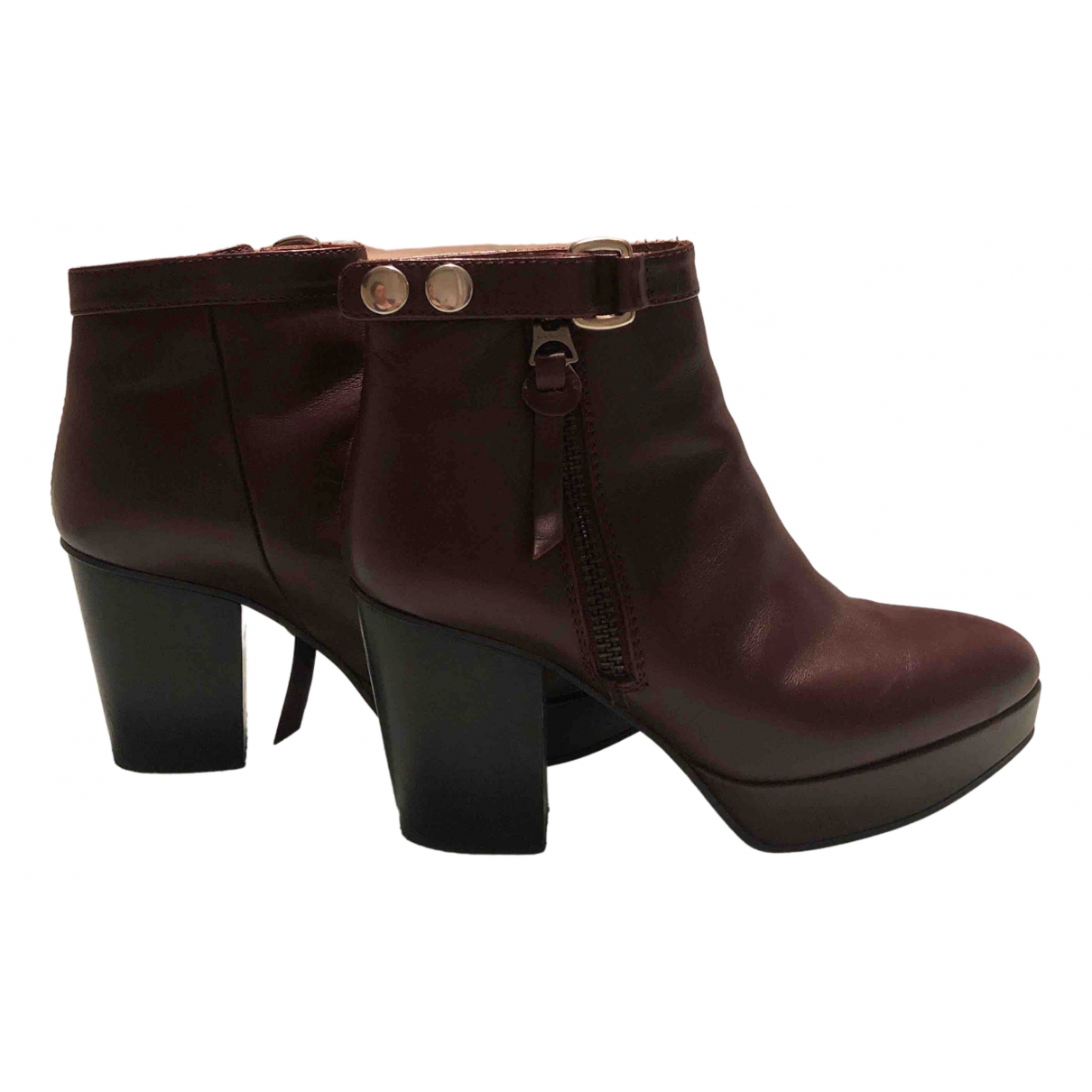 Acne Studios - Boots   pour femme en cuir - bordeaux
