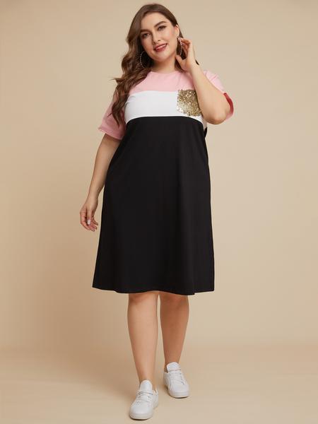 YOINS Plus Size Black Color Block Crew Neck Short Sleeves Dress