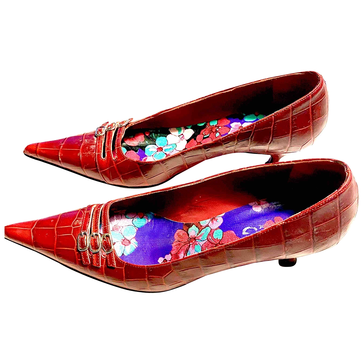 D&g \N Red Leather Heels for Women 38 EU
