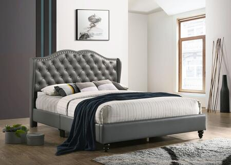 G1925KBUP Joy Collection King Size Upholstered Bed with Button Tufting Details  Faux Leather  Turned Legs  and Nail Head Accents  in