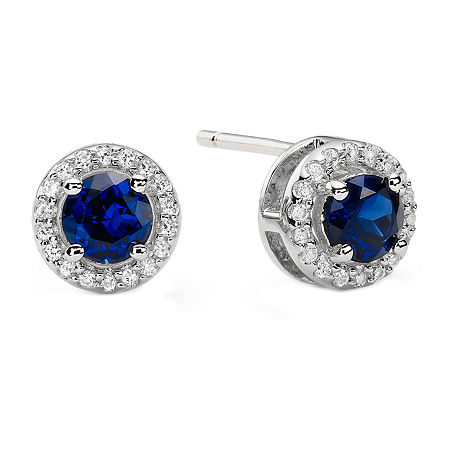 1/10 CT. T.W. Diamond & Genuine Sapphire Stud Earrings, One Size , No Color Family