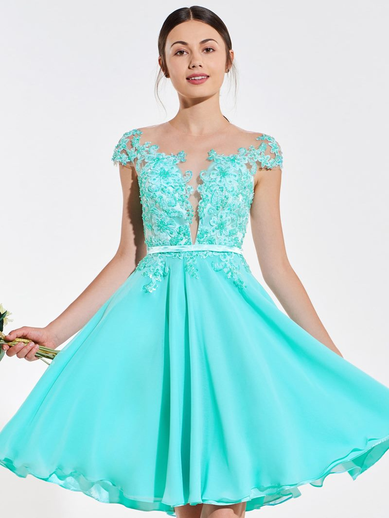Ericdress A Line Cap Sleeve Applique Short Bridesmaid Dress
