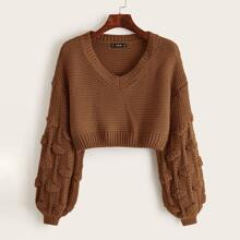 Pom Pom Drop Shoulder Crop Sweater