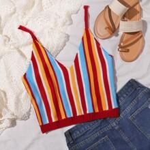 Striped Crop Knit Top