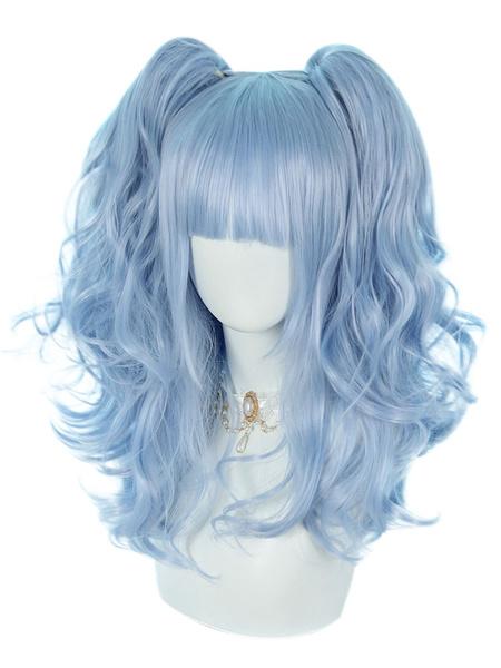 Milanoo Pelucas Sweet Lolita Light Sky Blue 46cm-65cm Accesorios de Lolita de fibra resistente al calor